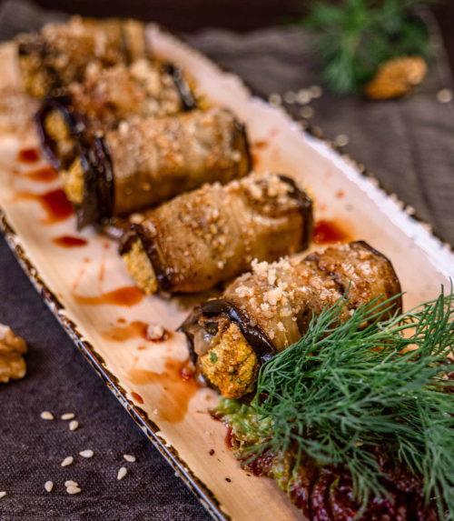 Рулетики из баклажанов с ореховой начинкой Доставка в Орле ресторан Лабиринт