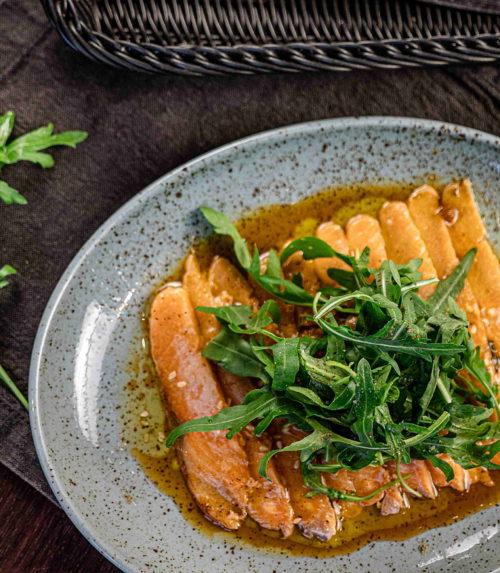 Карпаччо из лосося на овощной подложке доставка в Орле ресторан Лабиринт