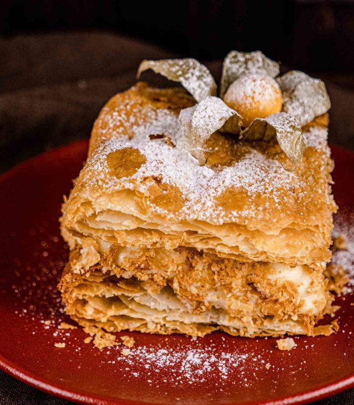Мильфей с виноградом и апельсинами доставка тортов и десертов ресторан Лабиринт
