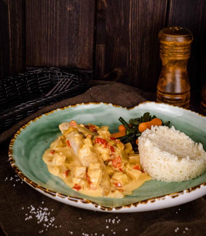 Филе индейки с ананасом и сливочным соусом доставка ресторан Лабиринт